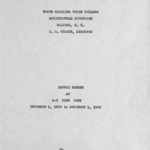 Annual report of 4-H Club work, December 1, 1928 to December 1, 1929