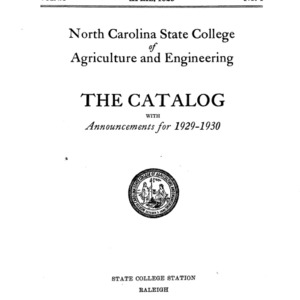 North Carolina State College of Agriculture and Engineering Catalog, 1929-1930