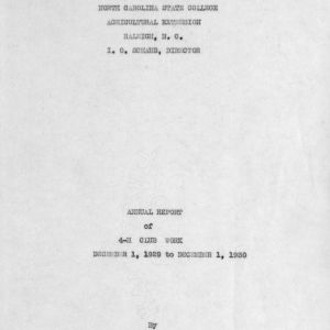 Annual report of 4-H Club work, December 1, 1929 to December 1, 1930