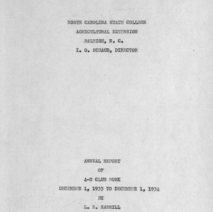 Annual report of 4-H Club work, December 1, 1933 to December 1, 1934