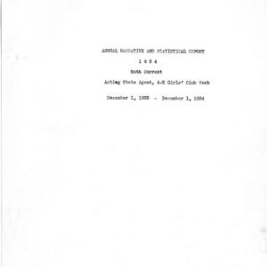 Annual narrative and statistical report, 4-H Girls' club work, 1934