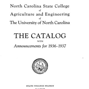North Carolina State College of Agriculture and Engineering Catalog, 1936-1937