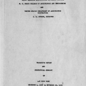 Narrative report and statistical summary of 4-H club work, December 1, 1937 to November 30, 1937