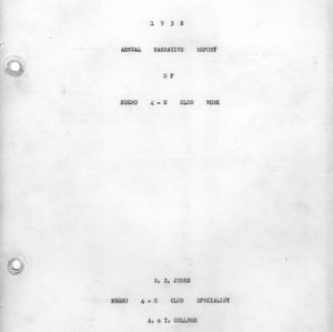 1938 annual narrative report of Negro 4-H Club work