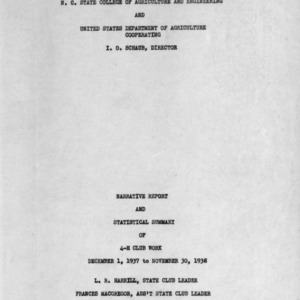 Narrative report and statistical summary of 4-H Club work, 1938