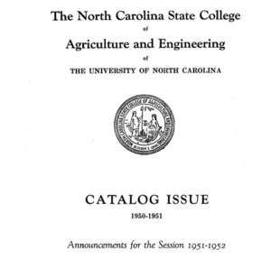 North Carolina State College of Agriculture and Engineering Catalog, 1951-1952