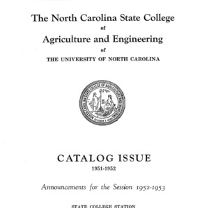 North Carolina State College of Agriculture and Engineering Catalog, 1952-1953