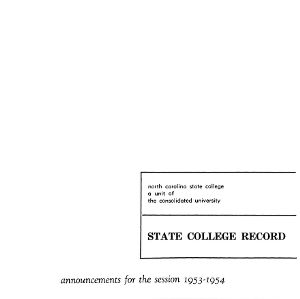 North Carolina State College Catalog, 1953-1954
