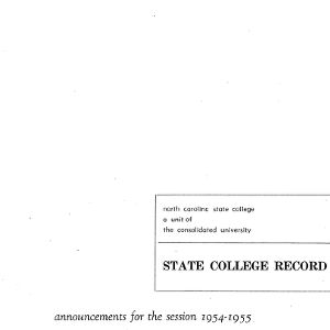North Carolina State College Catalog, 1954-1955