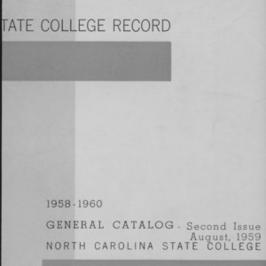 North Carolina State College General Catalog, 1958-1960