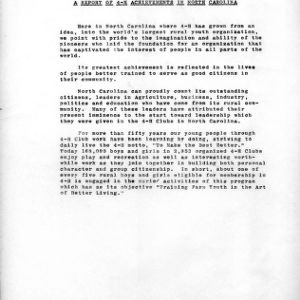 A report of 4-H achievements in North Carolina 1960