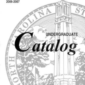 North Carolina State University Undergraduate Catalog, 2006-2007