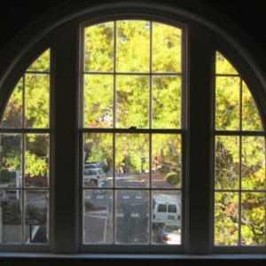 1911 Building renovations, view out of window