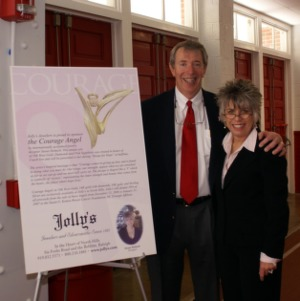 Courage Angel Pin designer Susan Helmick and maker Frank Jolly Ragsdale