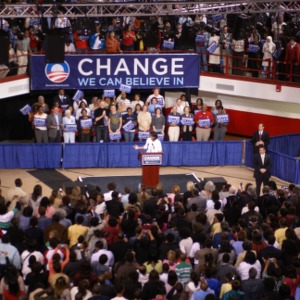 Michelle Obama speaking at Reynolds Coliseum