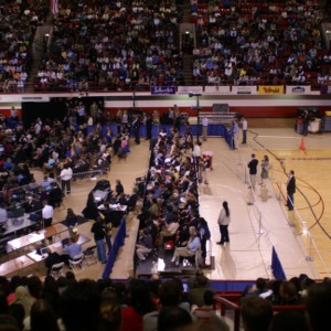 Crowd at Michelle Obama event in Reynolds Coliseum