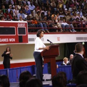Michelle Obama speaks at event in Reynolds Coliseum
