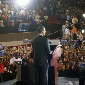 Barack Obama speaking at rally at Reynolds Coliseum