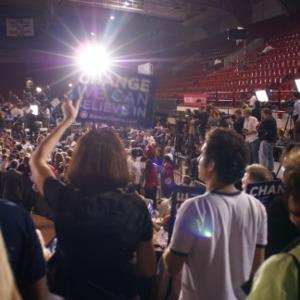 Crowd at Barack Obama rally in Reynolds Coliseum