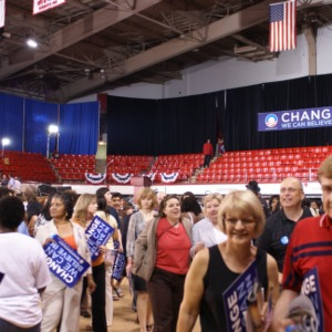 Crowd leaving the Barack Obama rally
