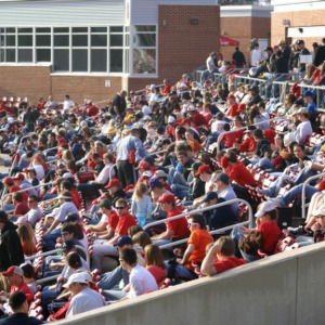 Fans at the North Carolina State University  versus Appalachian State University baseball game
