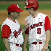 Avent and Mangum, coach and catcher