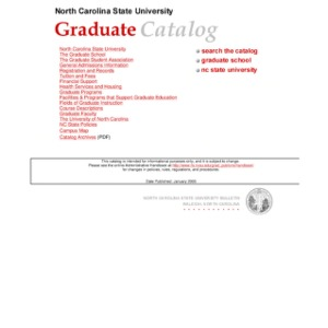 North Carolina State University Graduate Catalog, Spring 2005