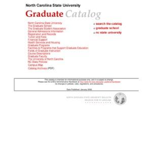 North Carolina State University Graduate Catalog, Spring 2006
