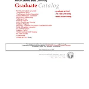 North Carolina State University Graduate Catalog, Spring 2007