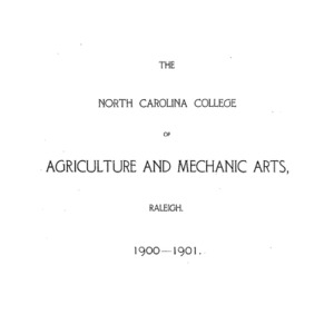 North Carolina College of Agriculture and Mechanic Arts Catalogue, 1900-1901