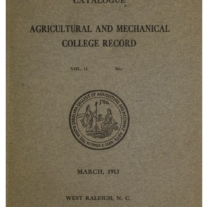 North Carolina Agricultural and Mechanical College Catalogue, Vol. 11, March 1913