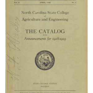 North Carolina State College of Agriculture and Engineering Catalog, State College Record Vol. 27 No. 4, April 1928