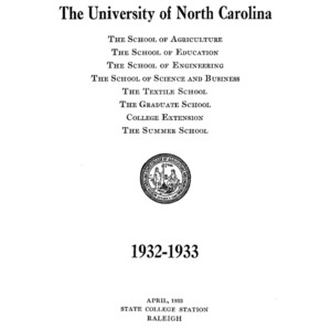 North Carolina State College of Agriculture and Engineering Catalog, 1932-1933