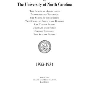 North Carolina State College of Agriculture and Engineering Catalog, 1933-1934