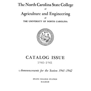 North Carolina State College of Agriculture and Engineering Catalog, Vol. 40 No. 7, 1940-1941