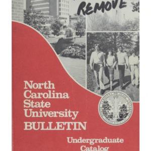 North Carolina State University Undergraduate Catalog, 1985-1987