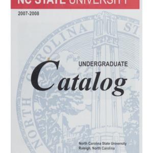 North Carolina State University Undergraduate Catalog, 2007-2008