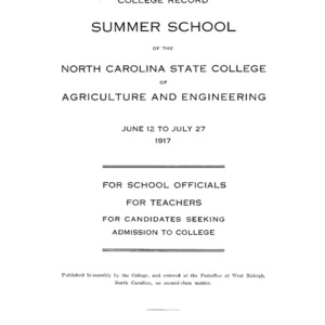 North Carolina State College of Agriculture and Engineering Summer School, June 12 to July 27, 1917 (College Record Vol. 16 No. 2)