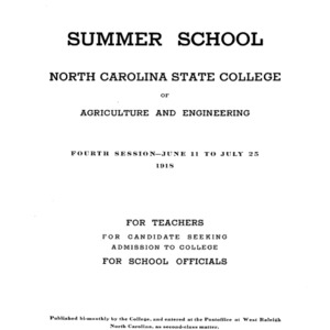 North Carolina State College of Agriculture and Engineering Summer School, June 11 to July 25, 1918 (College Record Vol. 16 No. 5)