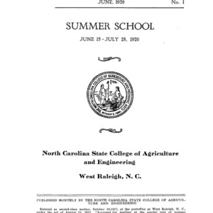 North Carolina State College of Agriculture and Engineering Summer School, June 15 to July 28, 1920 (State College Record No. 1)