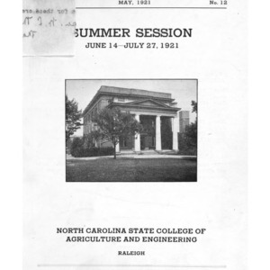 North Carolina State College of Agriculture and Engineering Summer School, June 14 to July 27,  (State College Record [Vol. 19] No. 12)