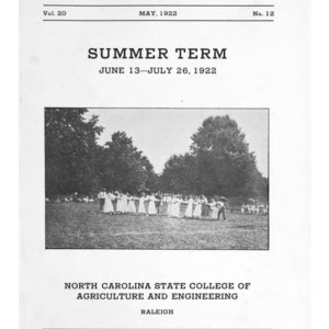 North Carolina State College of Agriculture and Engineering Summer School, June 13 to July 26, 1922 (State College Record Vol. 20 No. 12)