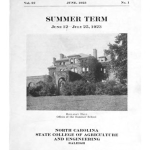 North Carolina State College of Agriculture and Engineering Summer School, June 12 to July 25, 1923 (State College Record Vol. 22 No. 1)
