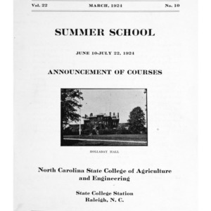 North Carolina State College of Agriculture and Engineering Summer School, June 10 to July 22, 1924 (State College Record Vol. 22 No. 10)