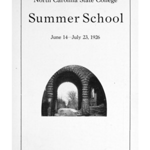 North Carolina State College of Agriculture and Engineering Summer School, June 14 to July 23, 1926 (State College Record Vol. 25 No. 10)