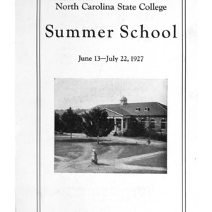 North Carolina State College of Agriculture and Engineering Summer School, June 13 to July 22, 1927 (State College Record Vol. 26 No. 3)