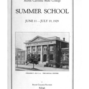 North Carolina State College of Agriculture and Engineering Summer School, June 11 to July 19, 1929 (State College Record Vol. 27 No. 4)