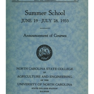 North Carolina State College of Agriculture and Engineering Summer School, June 19 to July 28, 1933 (State College Record Vol. 32 No. 6)