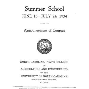 North Carolina State College of Agriculture and Engineering Summer School, June 13 to July 24, 1934 (State College Record Vol. 33 No. 5)