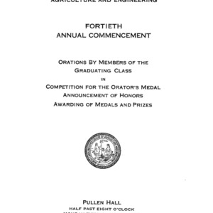 North Carolina State College of Agriculture and Engineering, Fortieth Annual Commencement, June 3, 1929